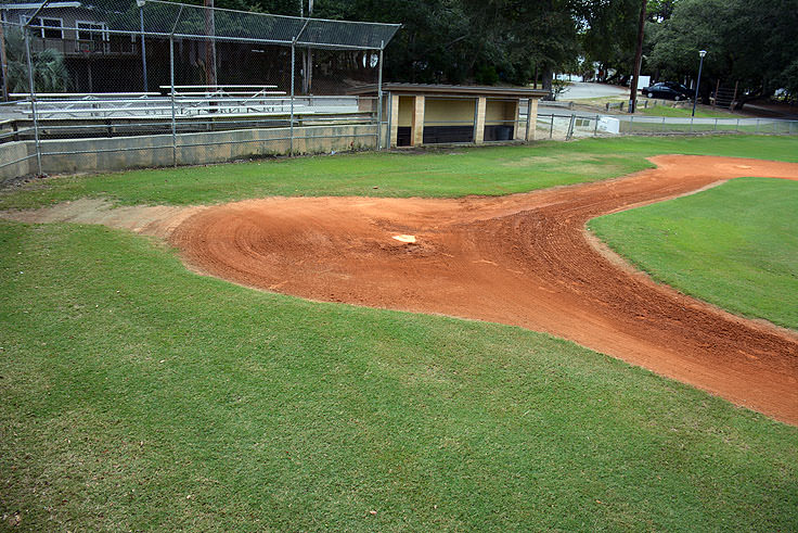 A baseball field at Mclean Park in Myrtle Beach, SC