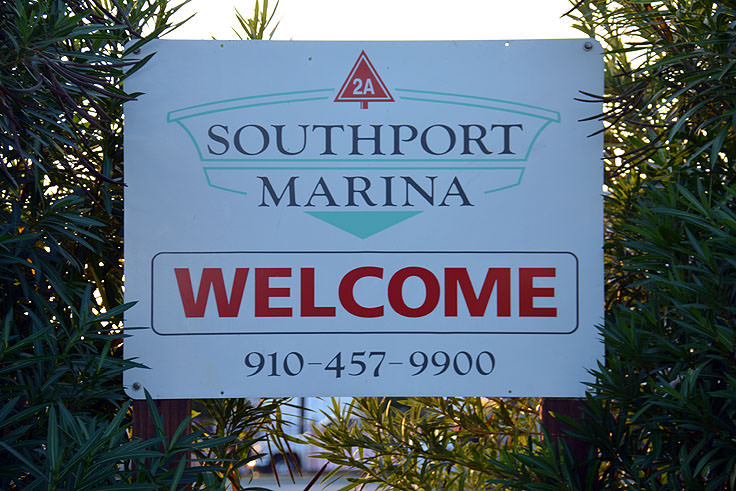 Welcome sign at Southport Marina