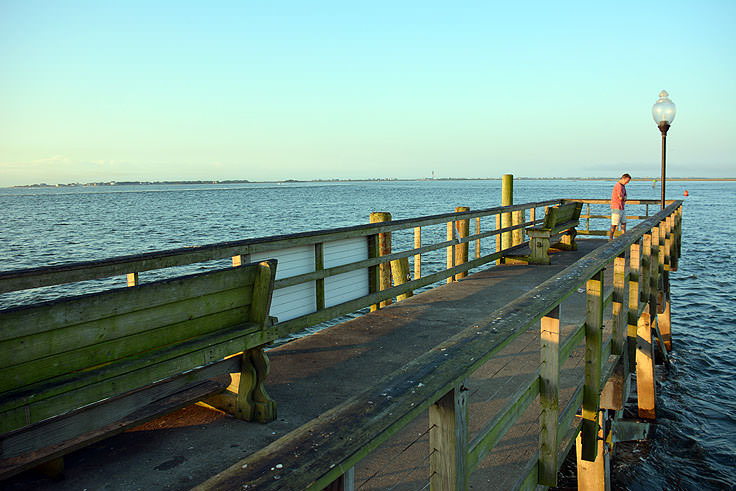 A view from the Historic Riverwalk in Southport, NC