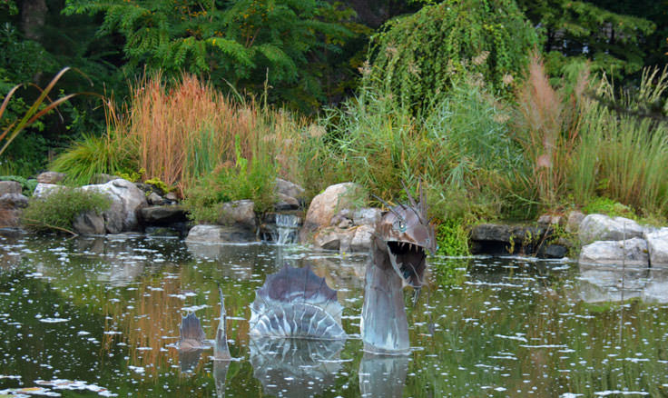 A sea monster sculpture at New Hanover County Arboretum in Wilmington, NC