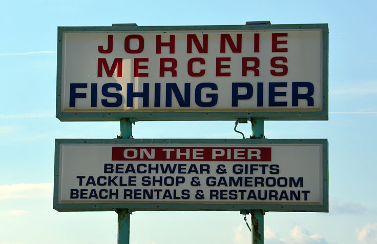 Johnny Mercer's Pier sign in Wrightsville Beach, NC